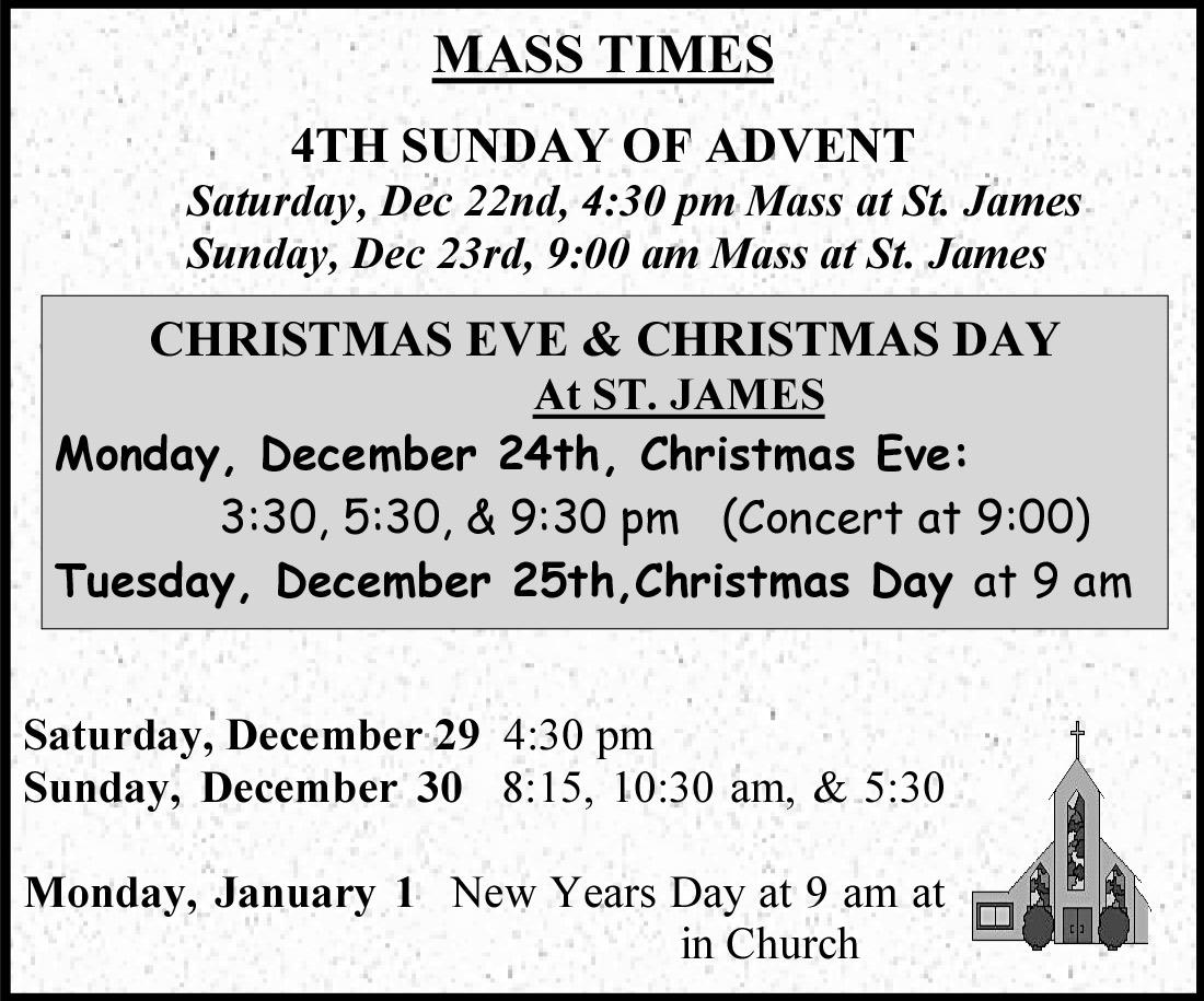 2018 – Christmas & New Year Mass Schedule – St  James Parish